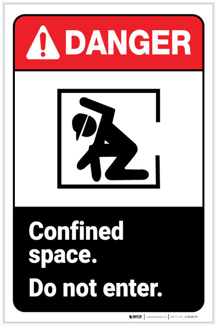 Danger: Confined Space - Do Not Enter ANSI with Icon Portrait - Label
