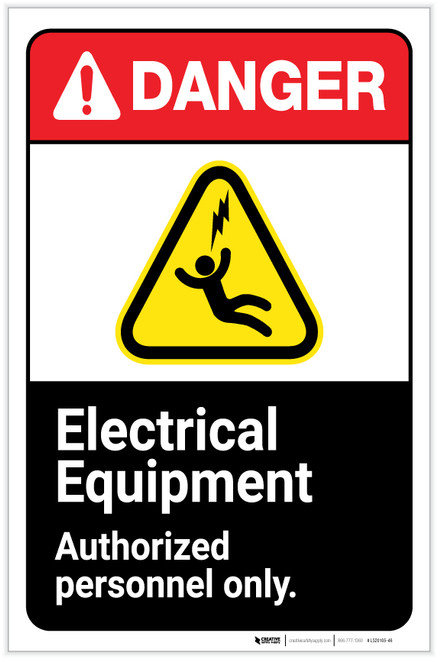 Danger: Electrical Equipment - Authorized Personnel Only ANSI with Icon Portrait - Label
