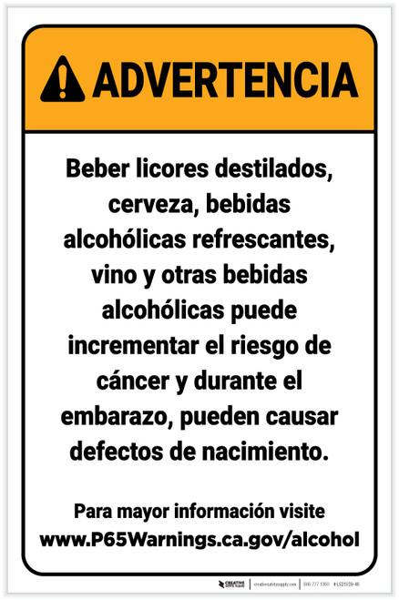 Warning: Alcoholic Beverage Exposure Spanish Prop 65 Portrait - Label