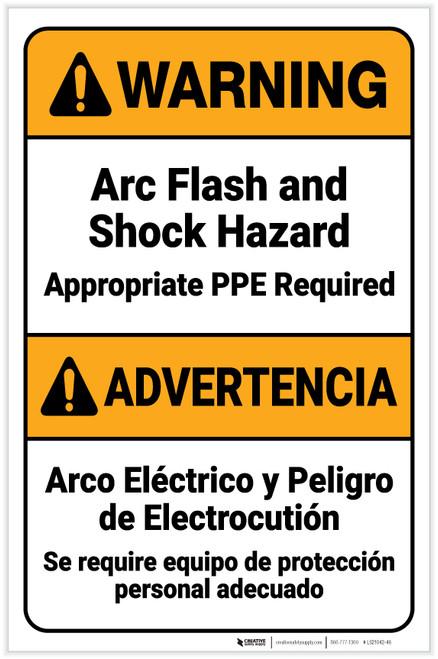 Warning: Arc Flash Shock Hazard PPE Required Bilingual Spanish ANSI Portrait - Label