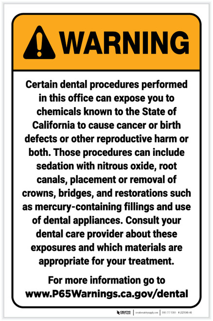 Warning: Dental Care Exposure Prop 65 Portrait - Label
