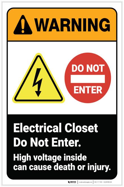 Warning: Electrical Closet Do Not Enter High Voltage ANSI Portrait - Label