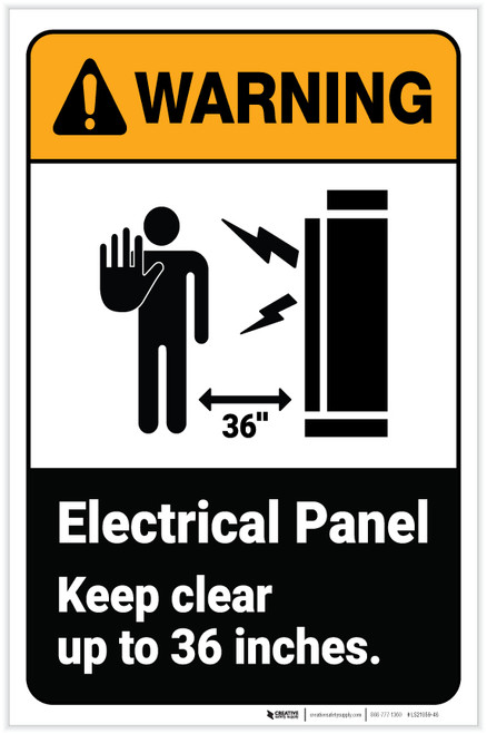 Warning: Electrical Panel - Keep Clear Up to Inches ANSI Portrait - Label
