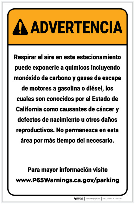 Warning: Enclosed Parking Facility Spanish Prop 65 Portrait - Label
