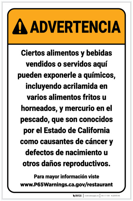 Warning: Food And Non Alcoholic Beverage Spanish Prop 65 Portrait - Label