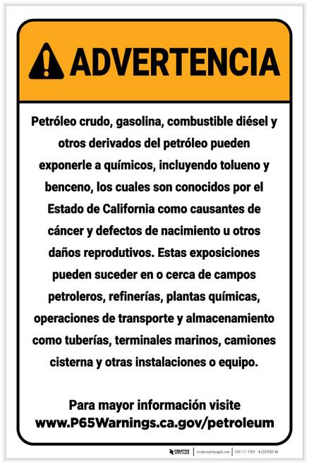 Warning: Petroleum Products Exposure Spanish Prop 65 Portrait - Label