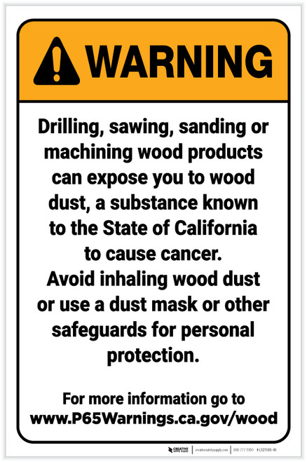 Warning: Raw Wood Exposure Prop 65 Portrait - Label