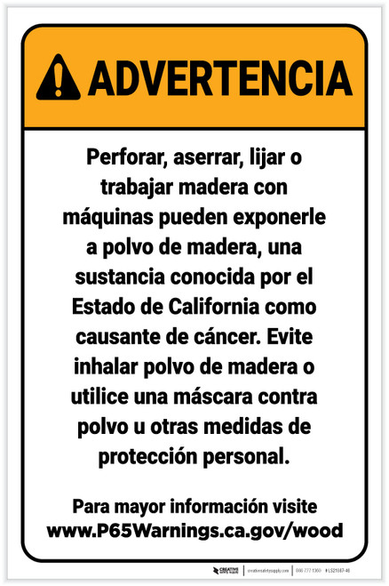 Warning: Raw Wood Exposure Spanish Prop 65 Portrait - Label