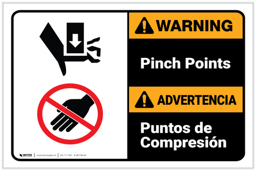 Warning: Pinch Points Bilingual Spanish with Icons Landscape - Label