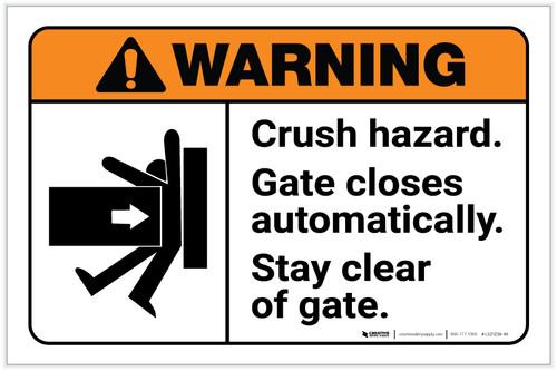 Warning: Crush Hazard - Gate Closes Automatically with Icon ANSI - Label