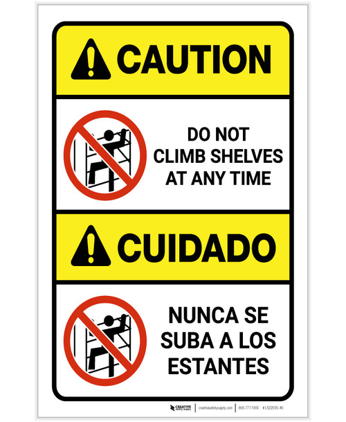 Caution: Do Not Climb Shelves At Any Time Bilingual ANSI Portrait - Label
