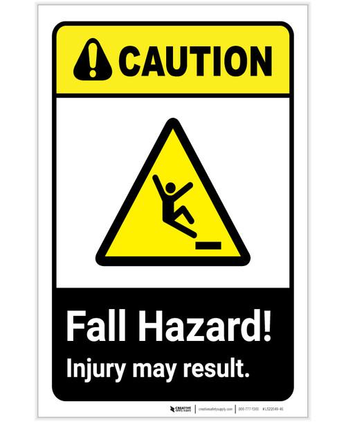 Caution: Fall Hazard Injury May Result ANSI Landscape - Label