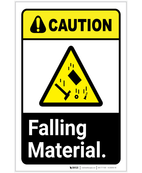 Caution: Falling Material ANSI with Hazard Icon Portrait - Label