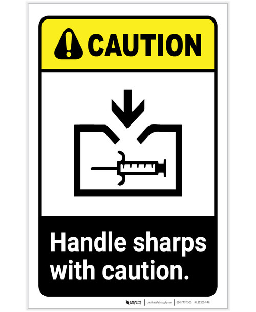 Caution: Handle Sharps with Caution ANSI with Icon Portrait - Label