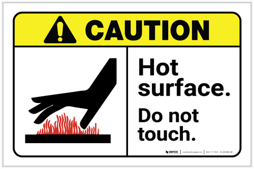 Caution: Hot Surface - Do Not Touch ANSI Landscape - Label