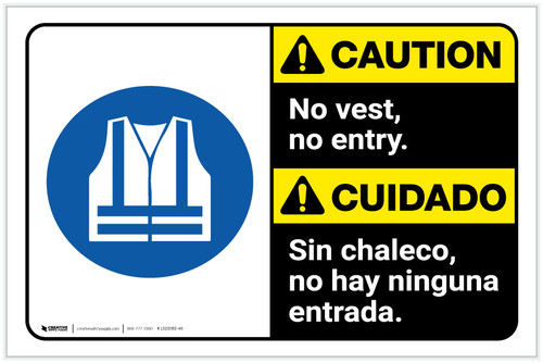 Caution: No Entry Without Vest ANSI Landscape - Label