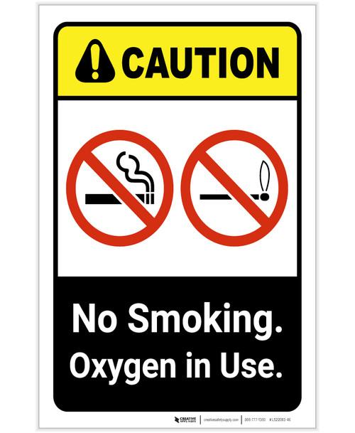 Caution: No Smoking Oxygen In Use ANSI Portrait - Label