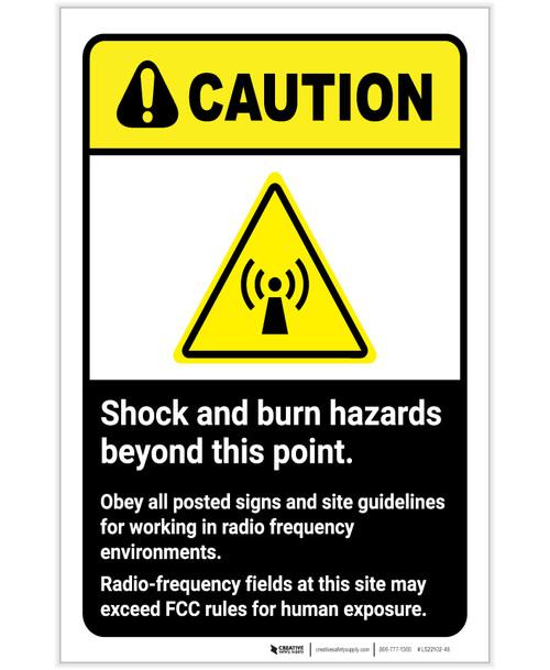 Caution: Shock And Burn Hazard ANSI Portrait - Label