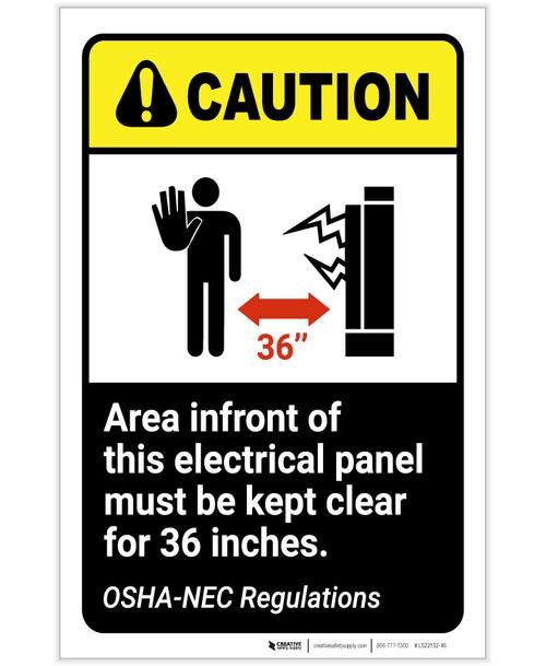Caution: Electrical Panel Area Keep Clear NEC Regulation ANSI Portrait - Label