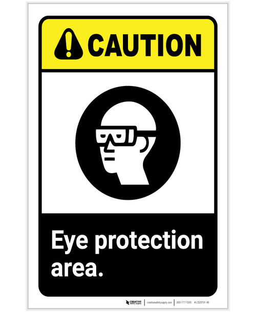 Caution: PPE Eye Protection Area With Graphic ANSI Portrait - Label
