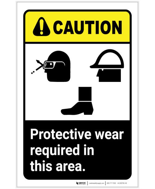 Caution: PPE Wear Protective Equipment Glasses Hard Hat Shoes Portrait - Label