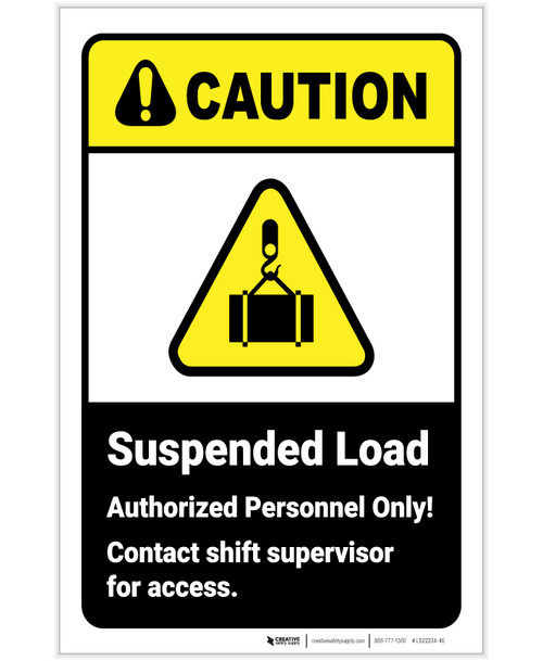 Caution: Suspended Load Authorized Personnel with Icon ANSI Portrait - Label