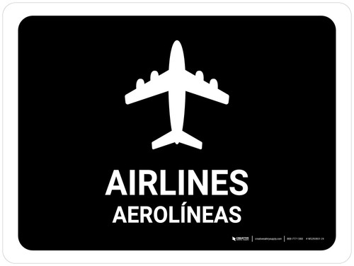 Airlines Black Bilingual Landscape - Wall Sign