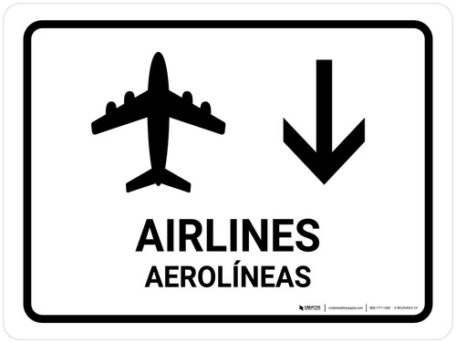 Airlines With Down Arrow White Bilingual Landscape - Wall Sign