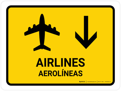 Airlines With Down Arrow Yellow Bilingual Landscape - Wall Sign