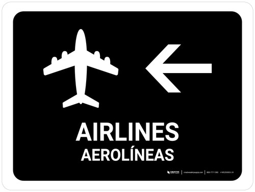 Airlines With Left Arrow Black Bilingual Landscape - Wall Sign