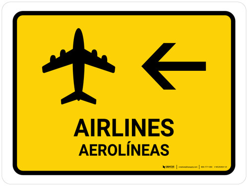 Airlines With Left Arrow Yellow Bilingual Landscape - Wall Sign