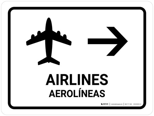 Airlines With Right Arrow White Bilingual Landscape - Wall Sign
