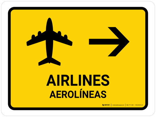 Airlines With Right Arrow Yellow Bilingual Landscape - Wall Sign