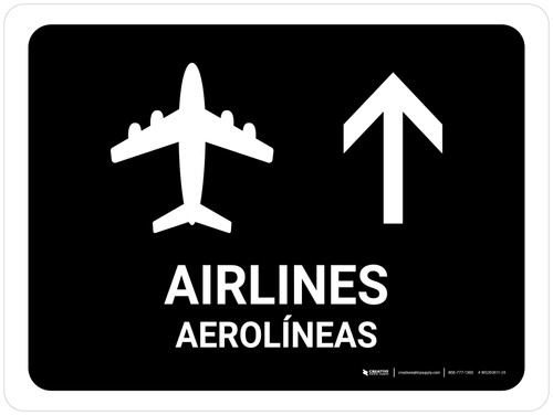 Airlines With Up Arrow Black Bilingual Landscape - Wall Sign