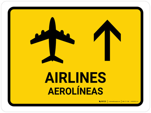 Airlines With Up Arrow Yellow Bilingual Landscape - Wall Sign