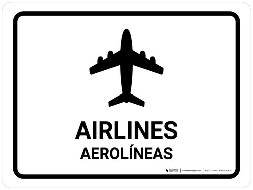 Airlines White Bilingual Landscape - Wall Sign