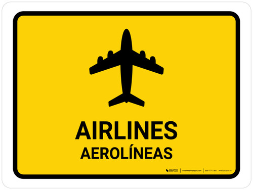 Airlines Yellow Bilingual Landscape - Wall Sign