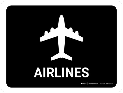 Airlines Black Landscape - Wall Sign