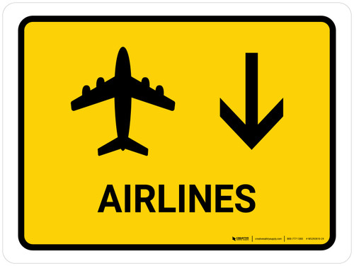 Airlines With Down Arrow Yellow Landscape - Wall Sign