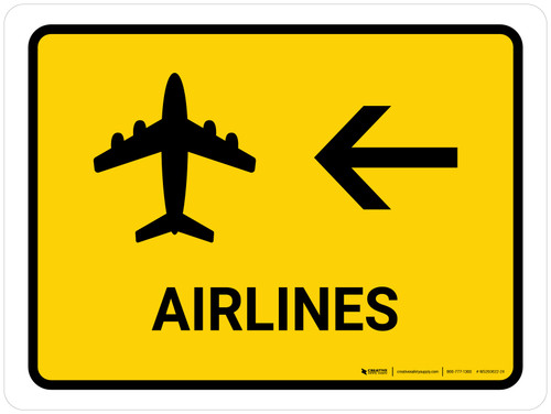 Airlines With Left Arrow Yellow Landscape - Wall Sign