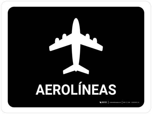 Airlines Black Spanish Landscape - Wall Sign