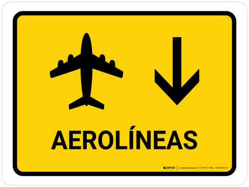 Airlines With Down Arrow Yellow Spanish Landscape - Wall Sign