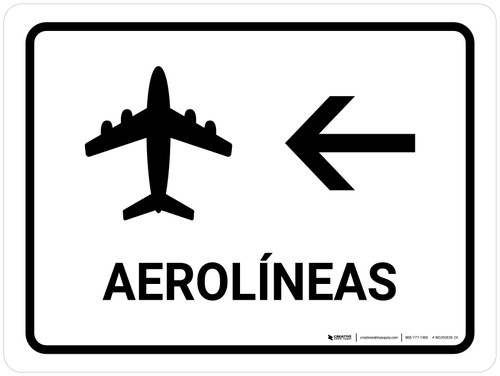 Airlines With Left Arrow White Spanish Landscape - Wall Sign