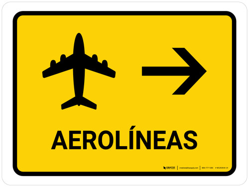 Airlines With Right Arrow Yellow Spanish Landscape - Wall Sign