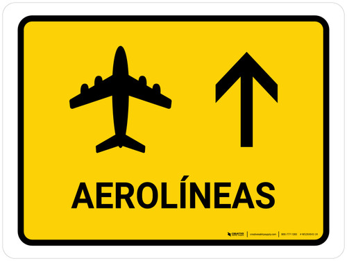 Airlines With Up Arrow Yellow Spanish Landscape - Wall Sign