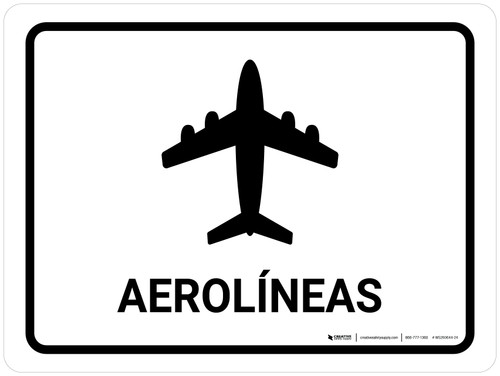 Airlines White Spanish Landscape - Wall Sign