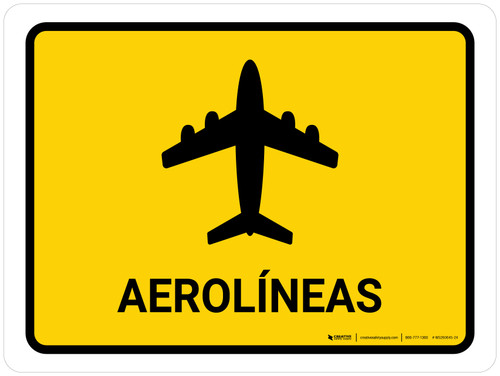Airlines Yellow Spanish Landscape - Wall Sign