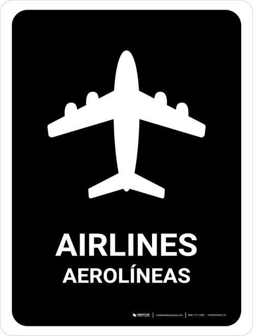 Airlines Black Bilingual Portrait - Wall Sign