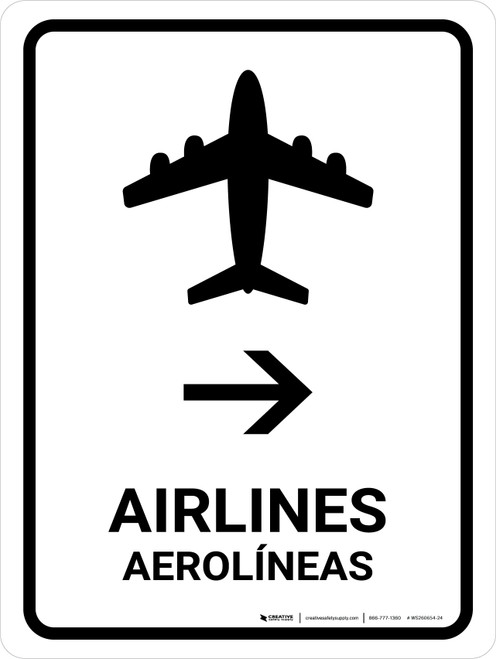 Airlines With Right Arrow White Bilingual Portrait - Wall Sign