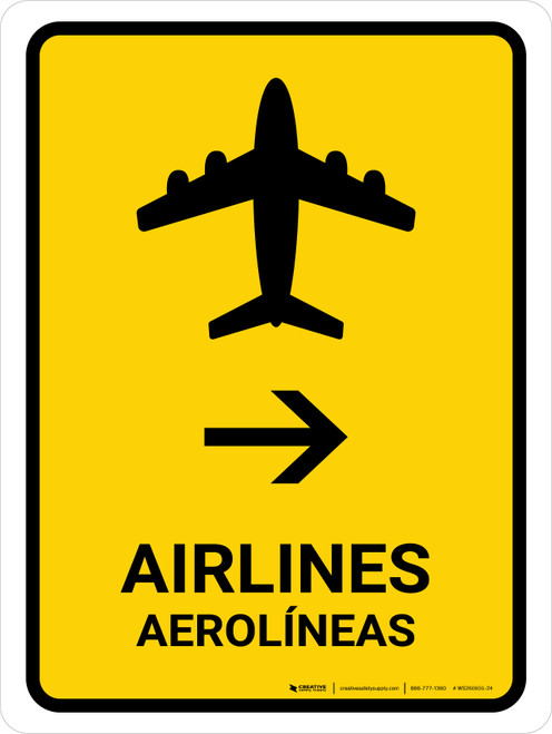 Airlines With Right Arrow Yellow Bilingual Portrait - Wall Sign
